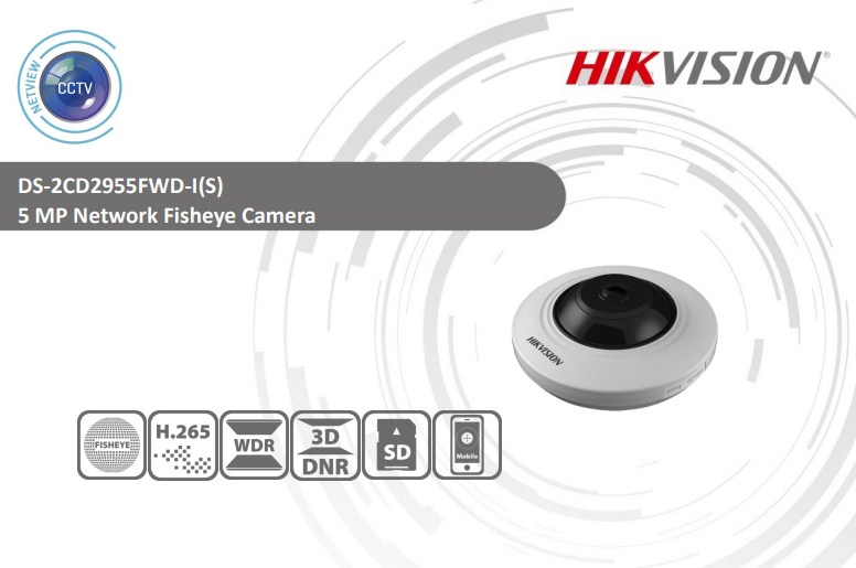 5MP DS-2CD2955FWD-IS Hikvision 1.05mm Fisheye Network IP Camera