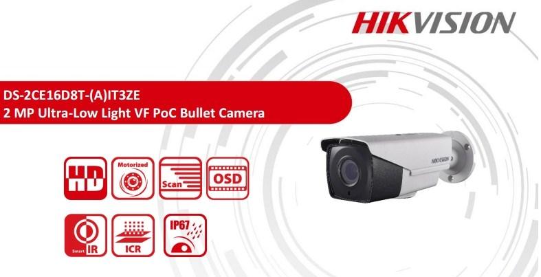 2MP Hikvision DS-2CE16D8T-IT3ZE Darkfighter Varifocal PoC EXIR Bullet Camera with 40m IR