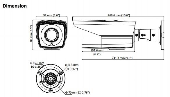 2MP Hikvision DS-2CE16D8T-IT3ZE Darkfighter Varifocal PoC EXIR Bullet IP Camera with 40m IR