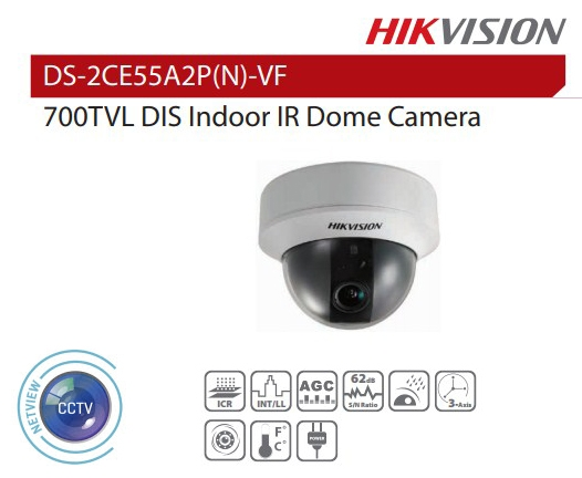 Hikvision DS-2CE55A2P-VF 2.8-12mm 700TVL DIS Indoor Dome Camera