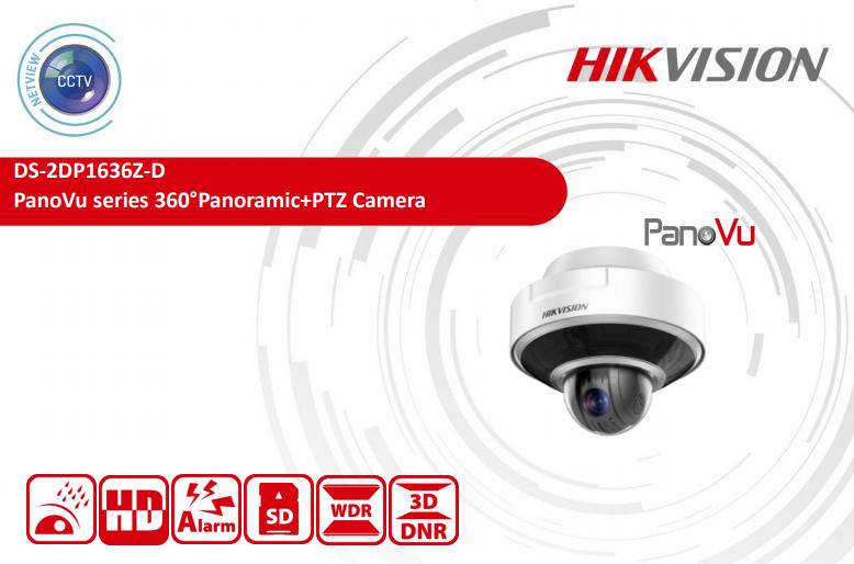 8 MP DS-2DP1636Z-D Hikvision PanoVu 5mm 360° Panoramic Dome +PTZ IP Camera