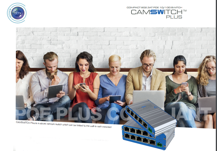 Veracity VCS-8P2 CAMSWITCH 8 Plus 8+2 Port 802.3at POE Network Switch