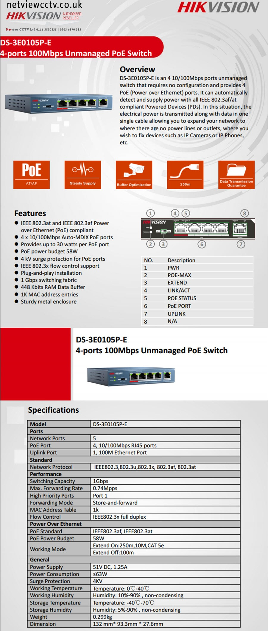 Hikvision, DS-3E0105P-E 4 port switch datasheet