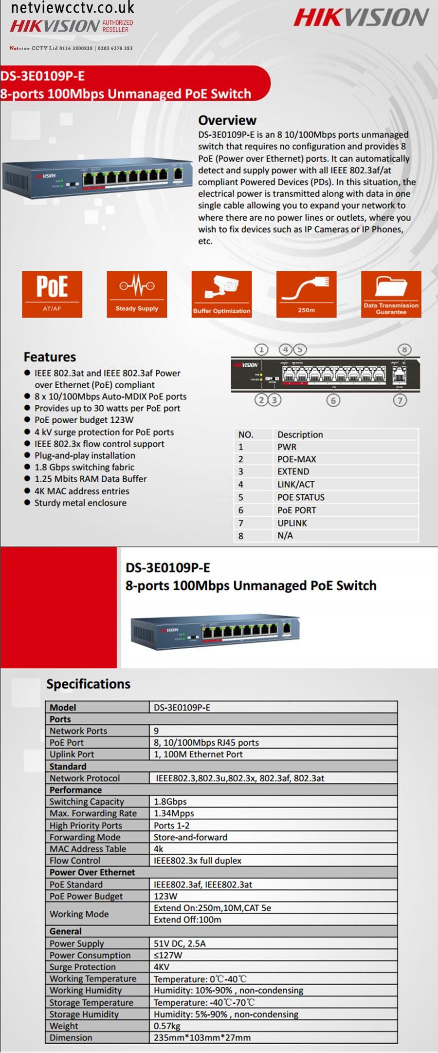 Hikvision, DS-3E0109P-E datasheet