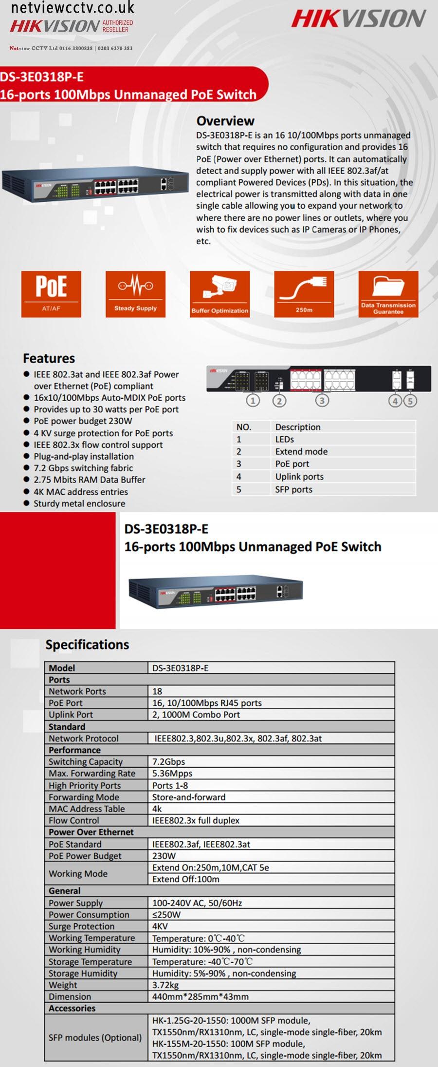 Hikvision POE Switch, DS-3E0318P-E datasheet