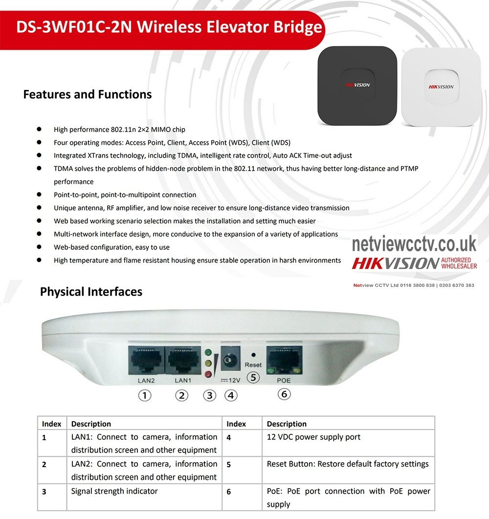 DS-3WF01C-2N Hikvision Wireless Bridge Kit 300Mbps 500m