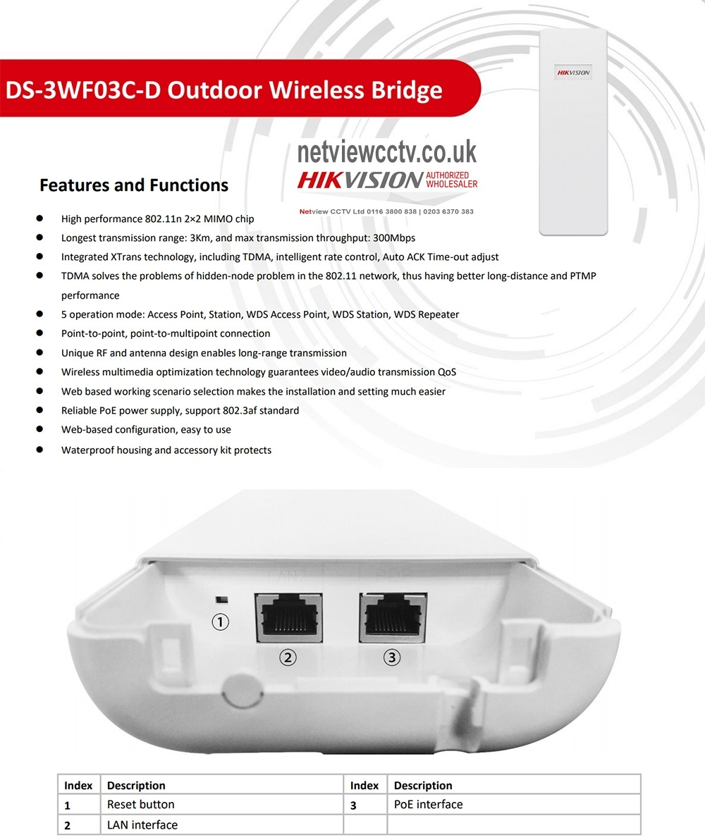 DS-3WF03C-D Hikvision Wireless Bridge Kit 300Mbps 3km