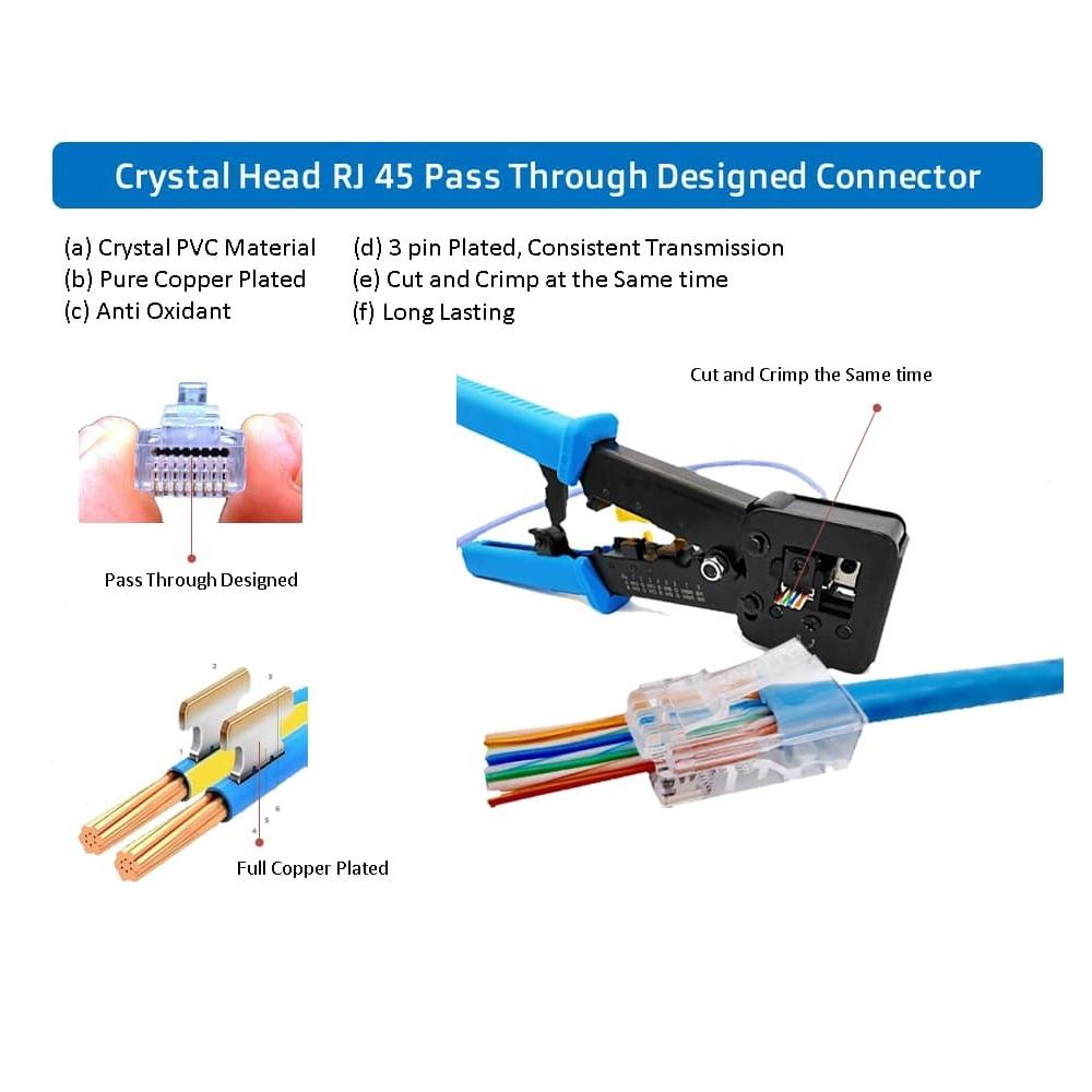 Netviewcctv EasyCrimp RJ45 Professional Ratchet Type Cut-and-Crimp Tool