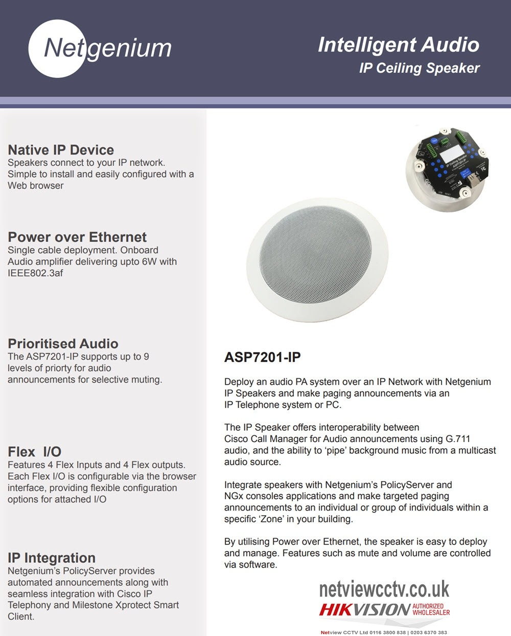 Network IP Ceiling Speaker Netgenium ASP7201-IP PoE Powered Internal