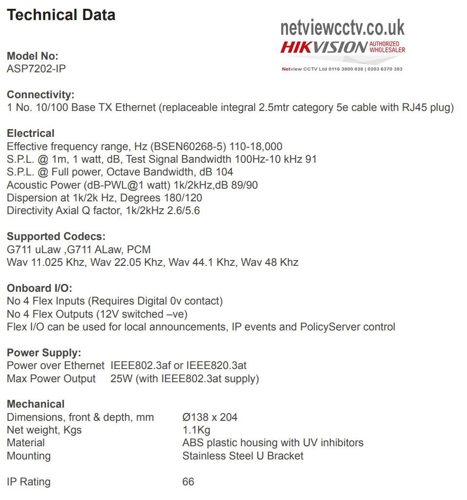 Netgenium ASP7202-IP Technical data