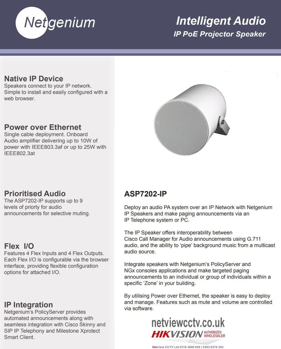 Network IP PA Speaker Netgenium ASP7202-IP PoE Powered Projector External