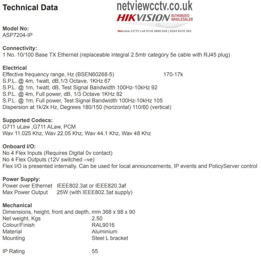 Netgenium ASP7204-IP Technical Data