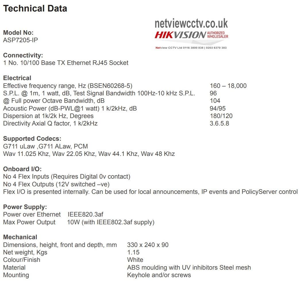 Netgenium ASP7205-IP Technical data