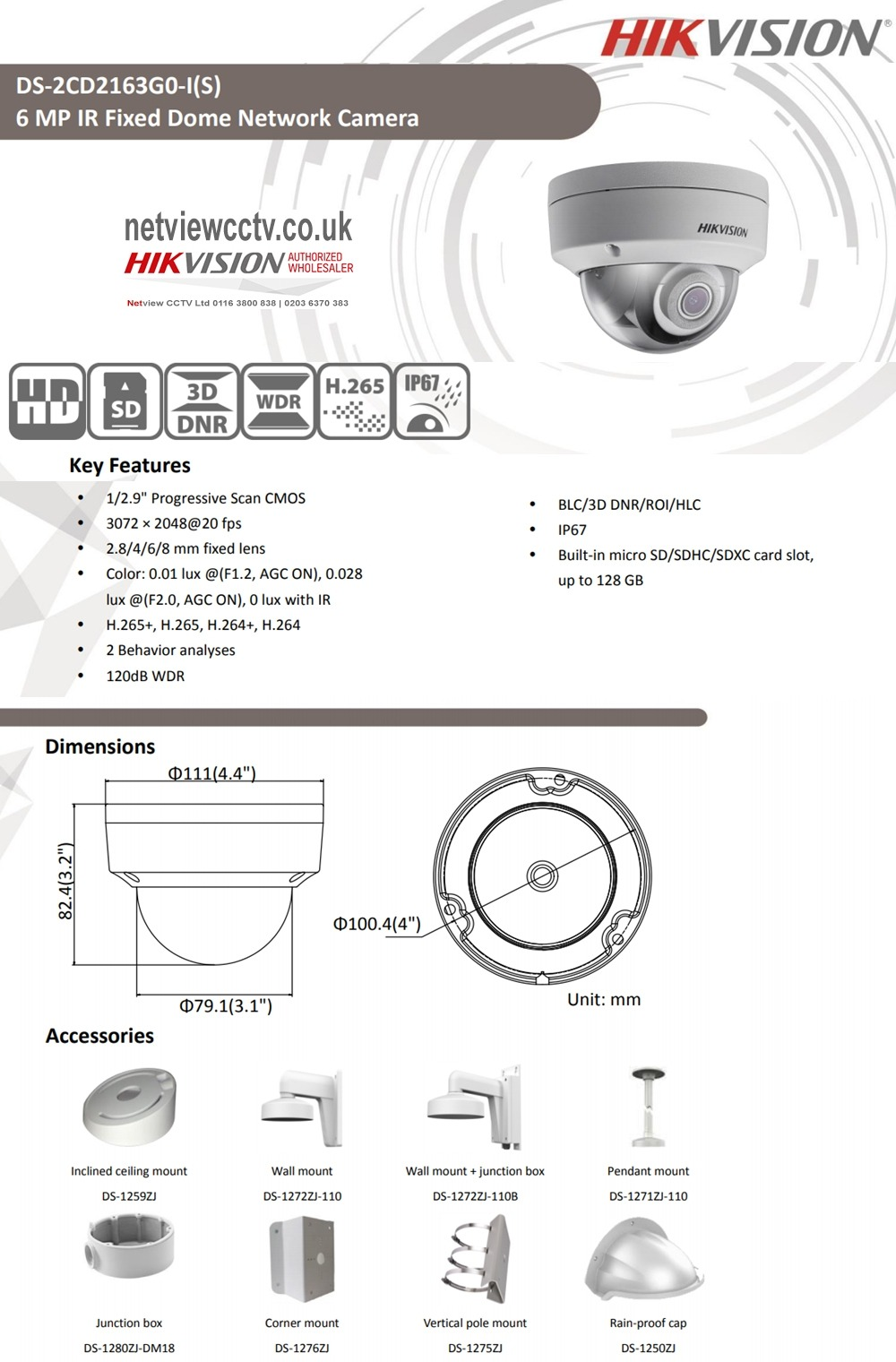 6MP DS-2CD2163G0-I Hikvision IP Vandal Dome Camera