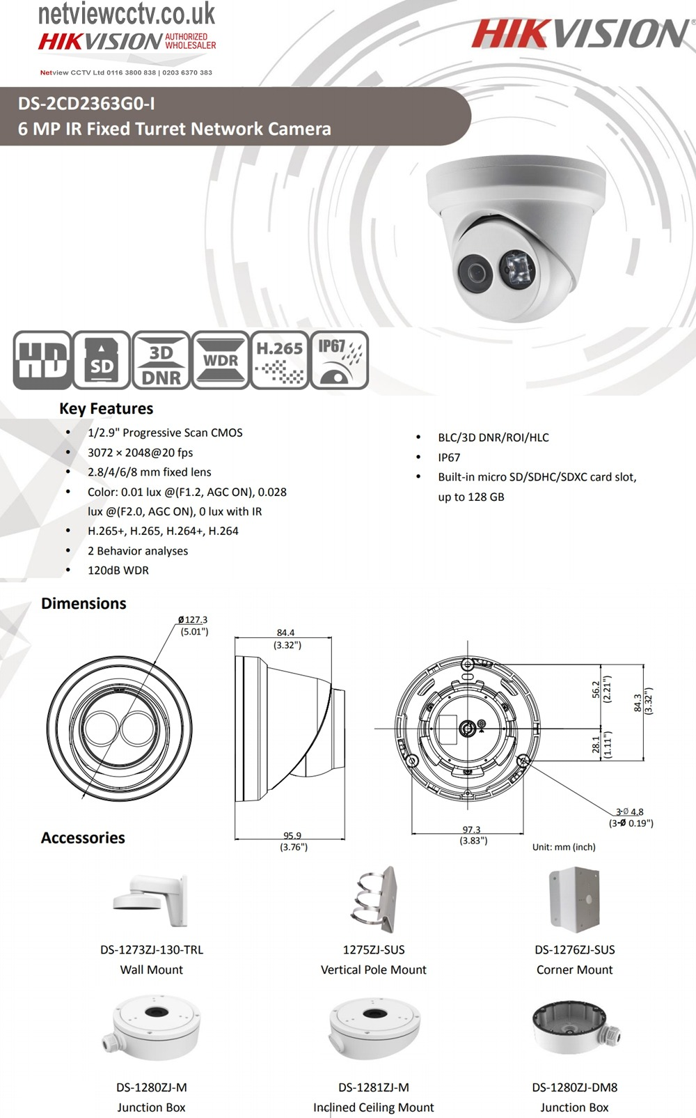 6MP DS-2CD2363G0-I Hikvision 2.8mm 97° IP Turret Dome Camera