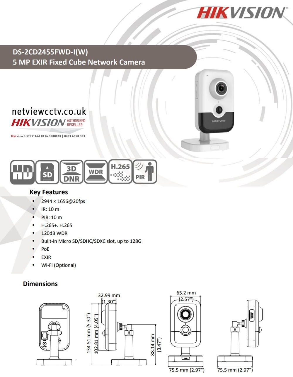5MP DS-2CD2455FWD-IW Hikvision 2.8mm 97° IP Cube Camera with Mic Speaker WiFi & PIR