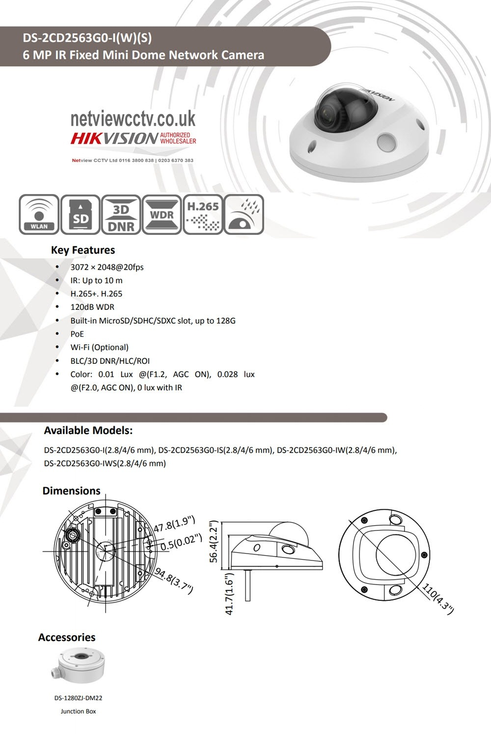 6MP Hikvision DS-2CD2563G0 Datasheet