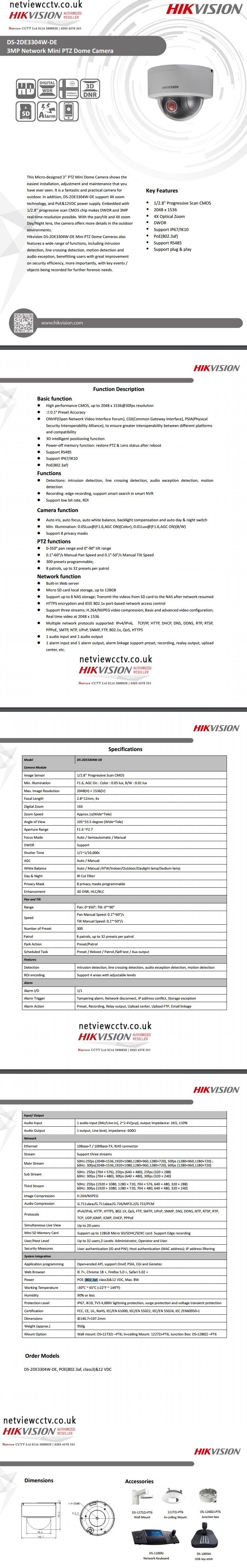 Hikvision, DS-2DE3304W-DE datasheet