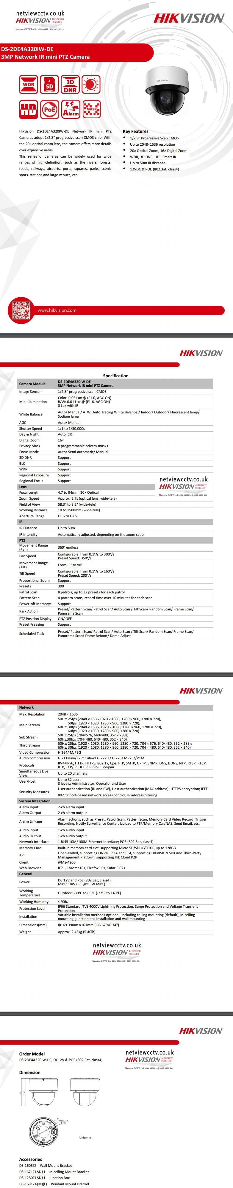 Hikvision DS-2DE4A320IW-DE datasheet