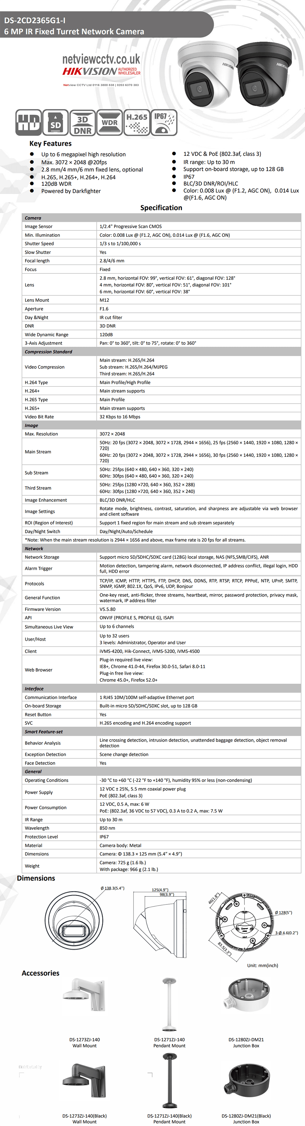 6MP DS-2CD2365G1-I Hikvision Darkfighter 2.8mm 99° 20fps IP Turret Camera