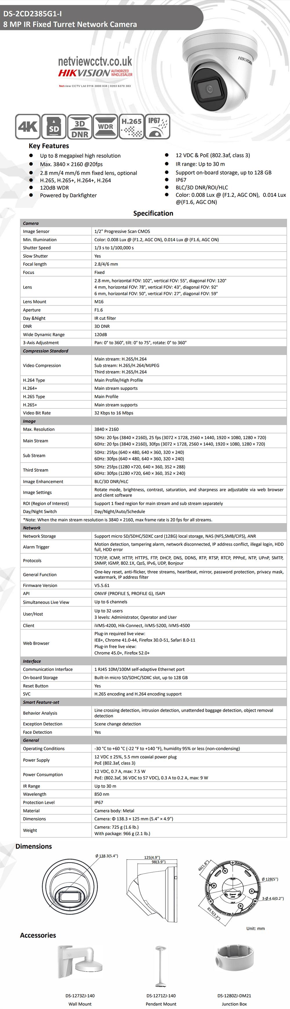 8MP DS-2CD2385G1-I Hikvision Darkfighter IP Turret Camera