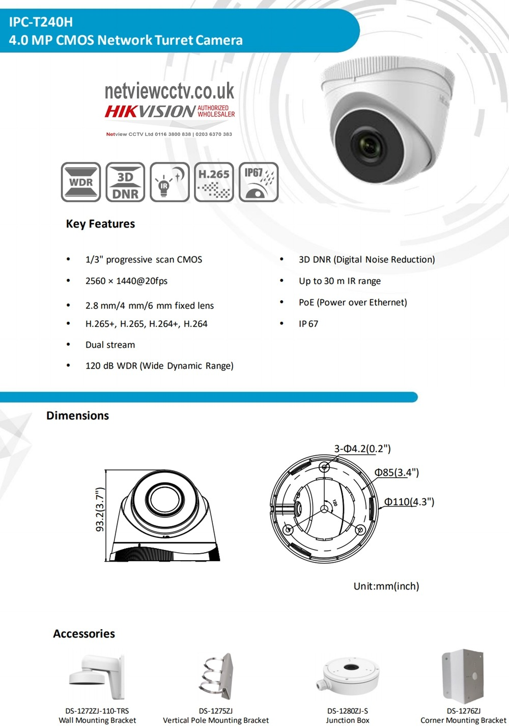 4MP IP Turret Dome Camera IPC-T240H 2.8mm 100° H.265+ METAL