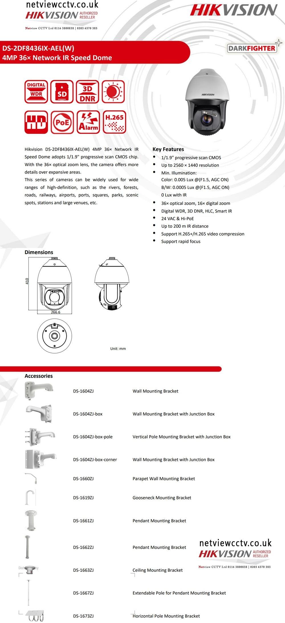 4MP DS-2DF8436IX-AELW Hikvision IP 36x Darkfighter PTZ with Auto Tracking, 200m IR &Wiper