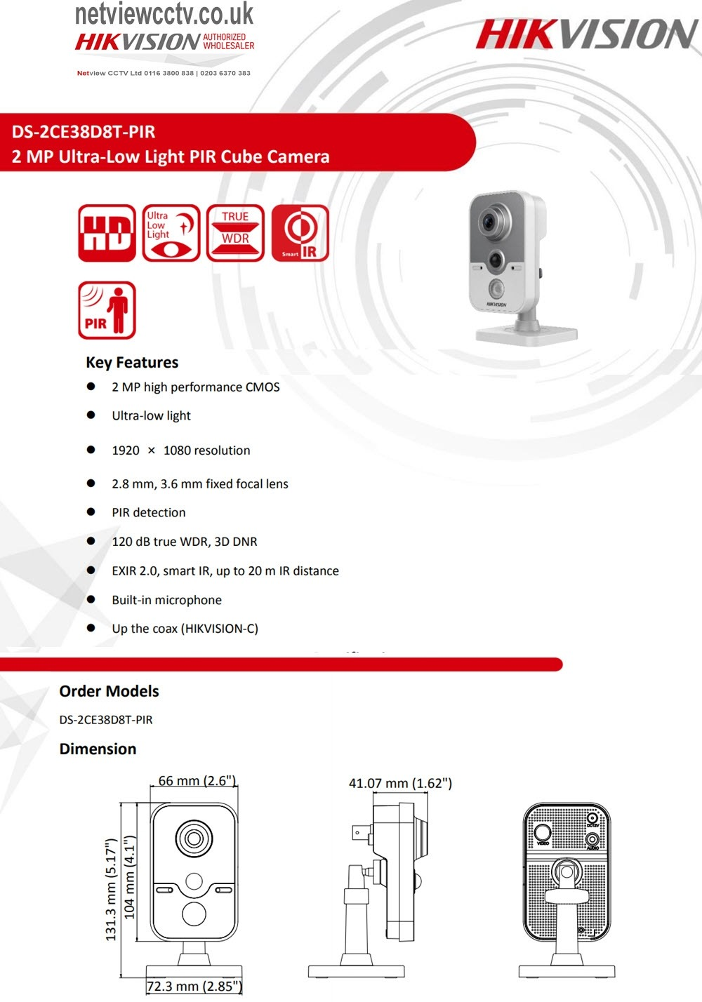 2MP DS-2CE38D8T-PIR Hikvision 2.8mm Ultra-Low Light 103.5° PIR Cube Camera