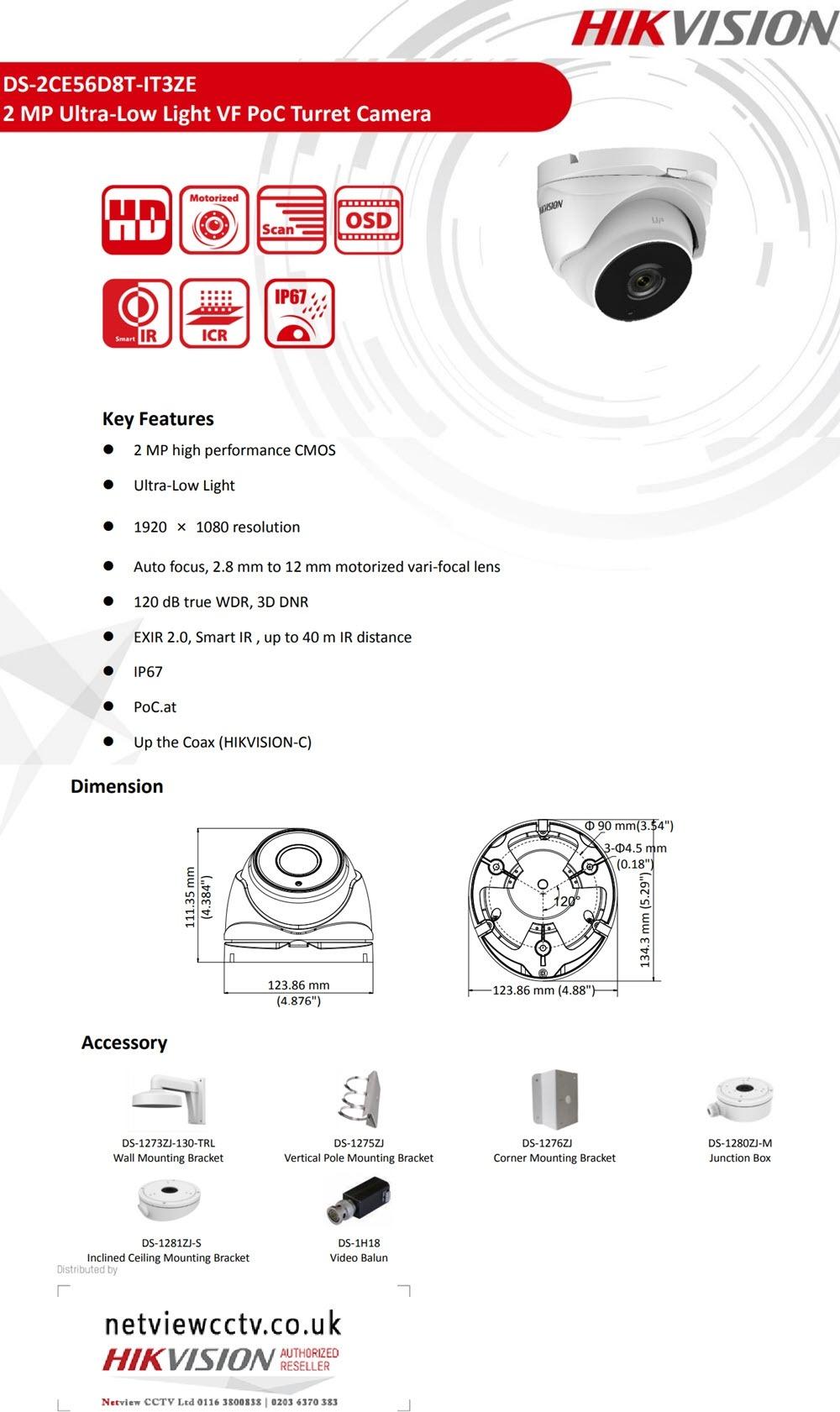 2MP Hikvision DS-2CE56D8T-IT3ZE Ultra Low Light PoC Turret Dome Camera