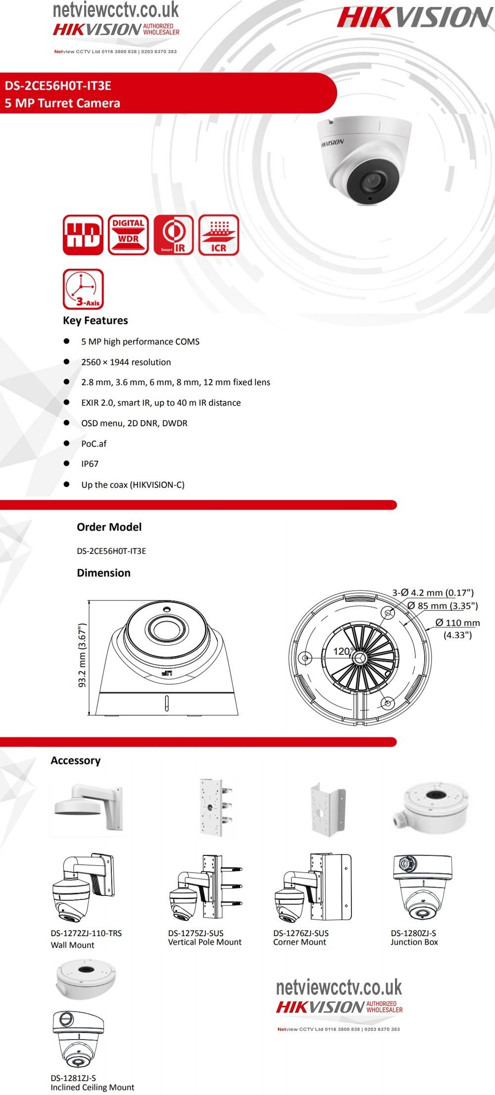 5MP DS-2CE56H0T-IT3E Hikvision 2.8mm 85.5° PoC Turbo HD Dome Camera 40m IR