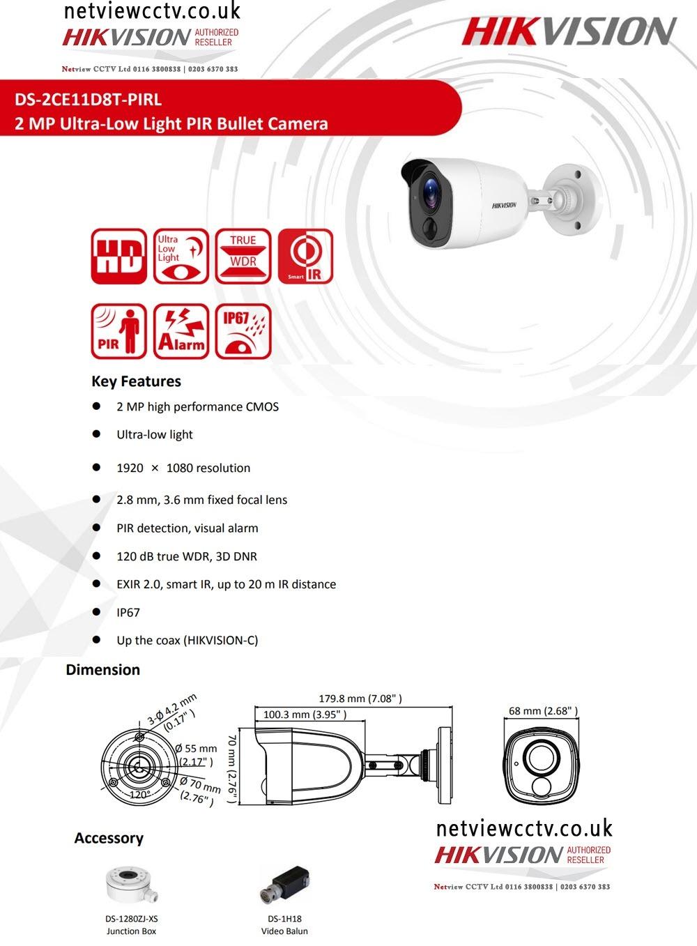 2MP DS-2CE11D8T-PIRL Hikvision 2.8mm Ultra-Low Light 103.5° PIR Bullet Camera