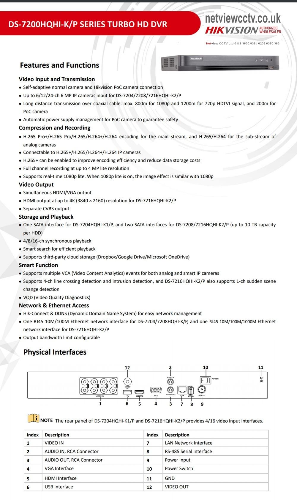 DS-72000QHI-K1/P Hikvision 4MP PoC Turbo HD DVR