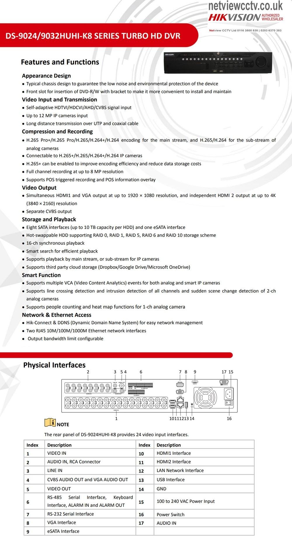 32 Channel DS-9032HUHI-K8 Hikvision 8MP Turbo HD DVR