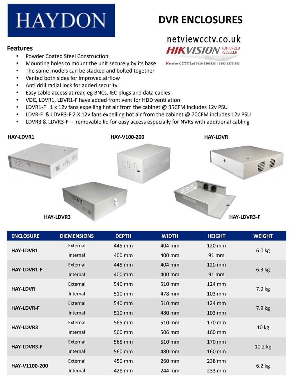 Haydon Large Lockable Steel DVR NVR Enclosure with Fans 565*510*170mm LDVR3-F