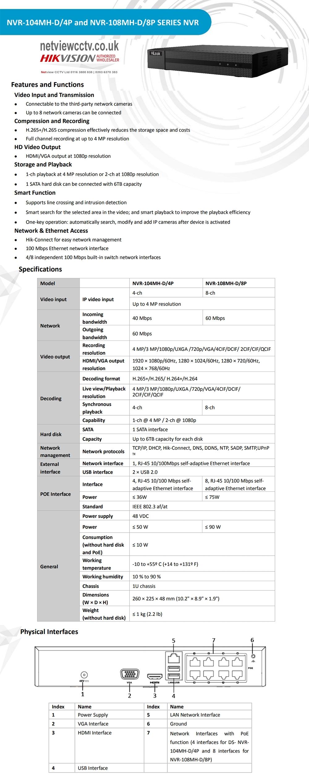 HiLook NVR-104MH-D/4P & NVR-108MH-D/8P HiLook 8x4MP PoE NVR