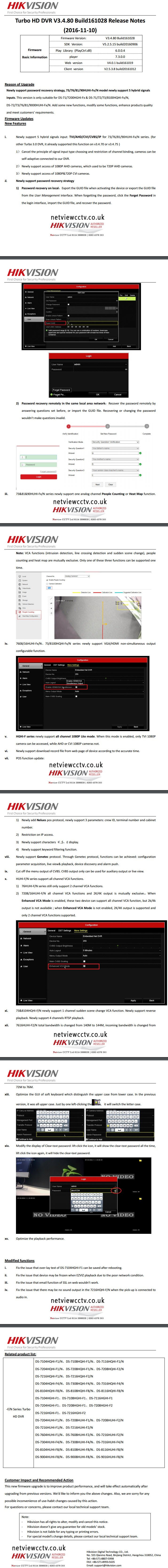 Hikvision Turbo HD DVR V3.4.80 Build161028 Release Notes