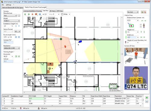 See camera zones on the Site plan or Map