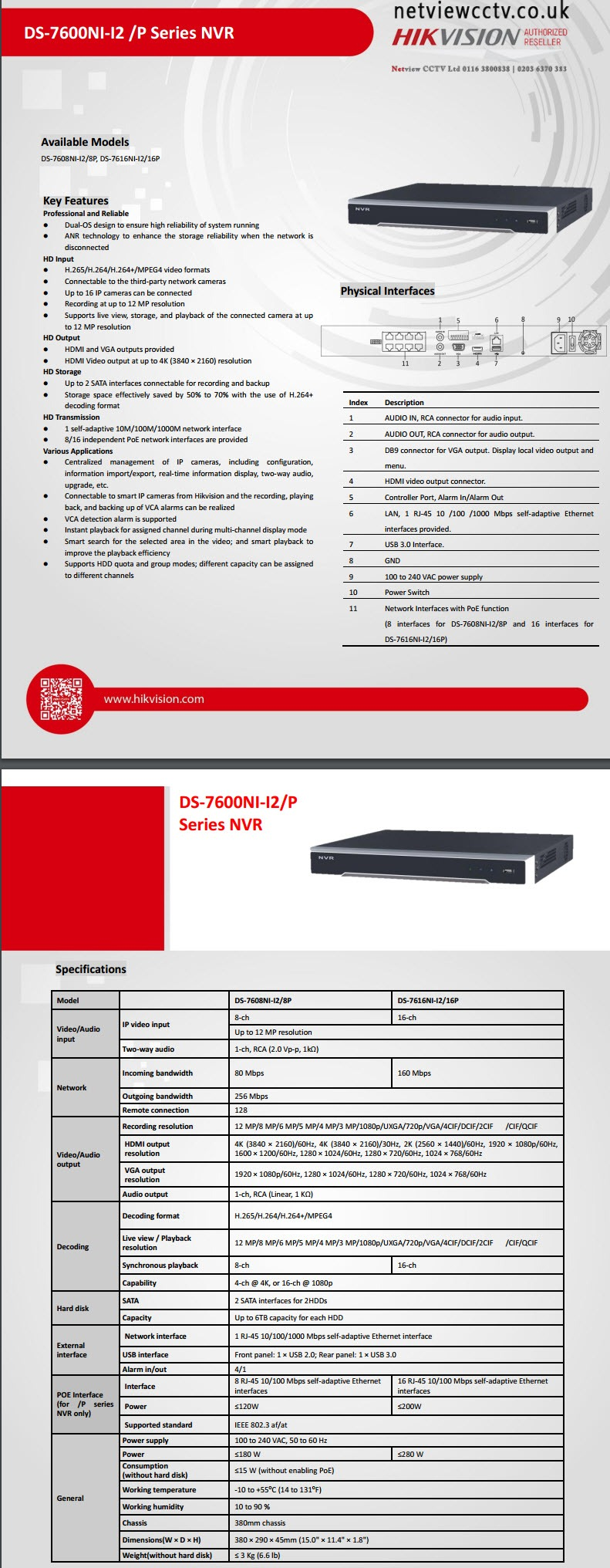 Hikvision, DS-7616NI -I2/16P, 16 Channel, NVR, 4K specifications
