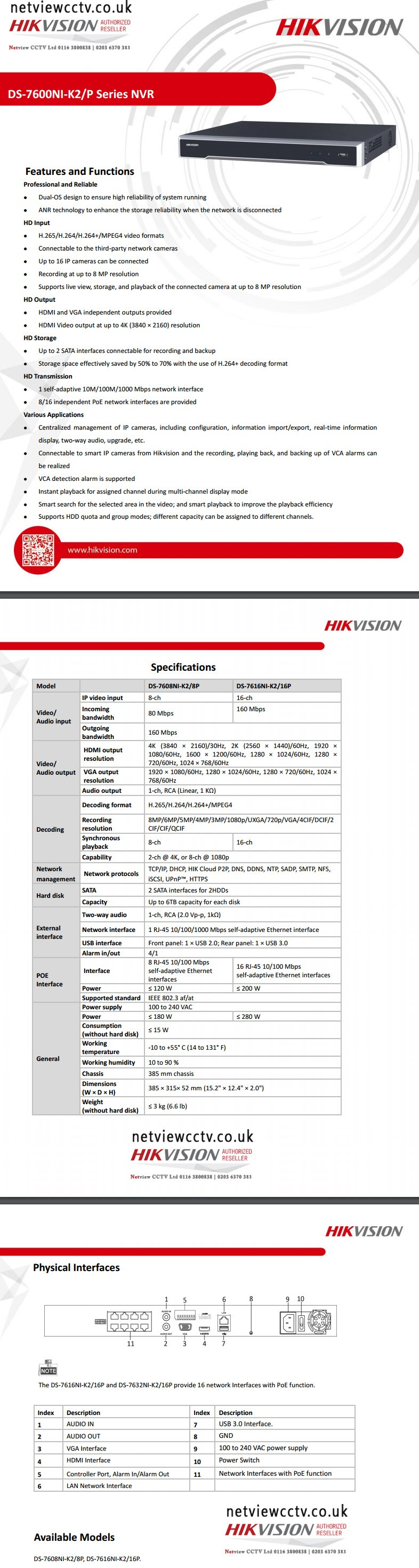 Hikvision, DS-7616NI -K2/16P, 16 Channel, NVR, 4K specifications