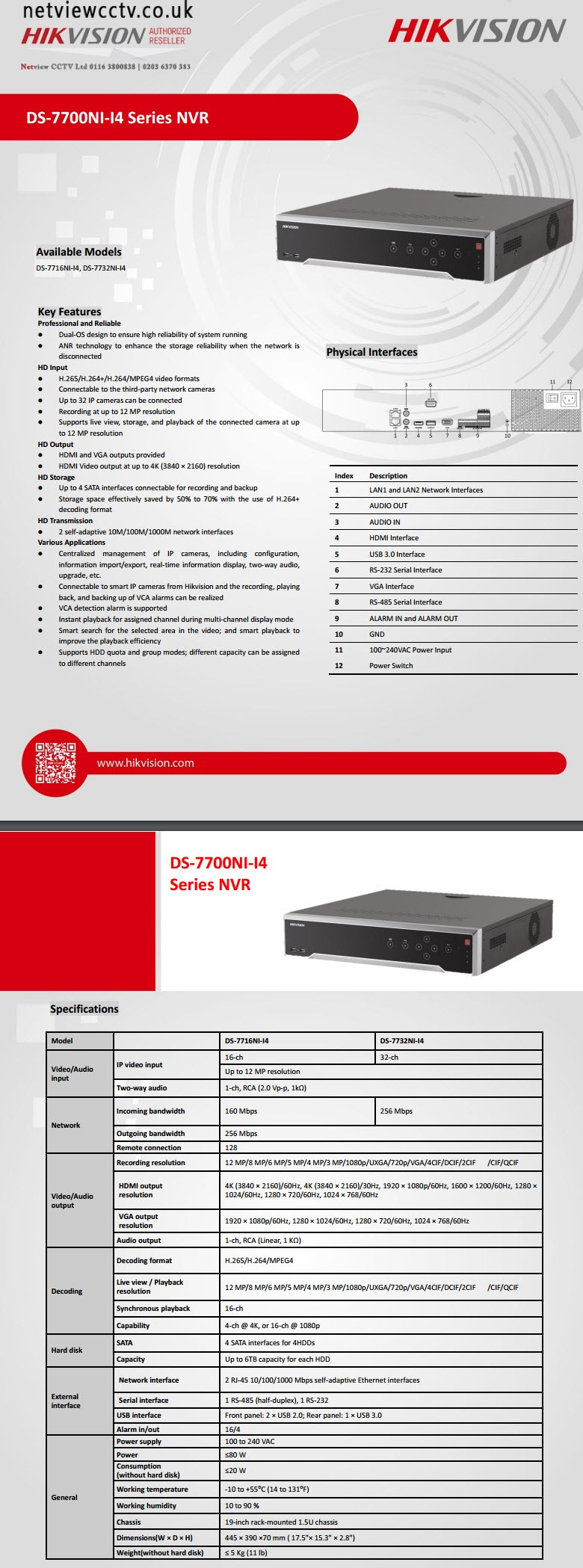 Hikvision DS-7732NI-I4 datasheet