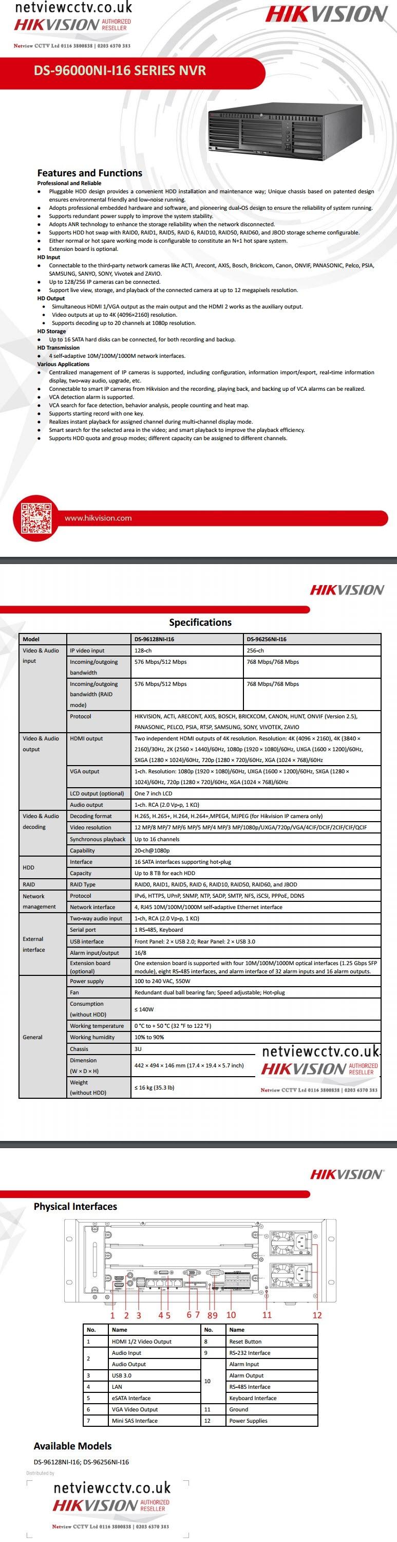 Hikvision, DS-96128NI-I16 datasheet