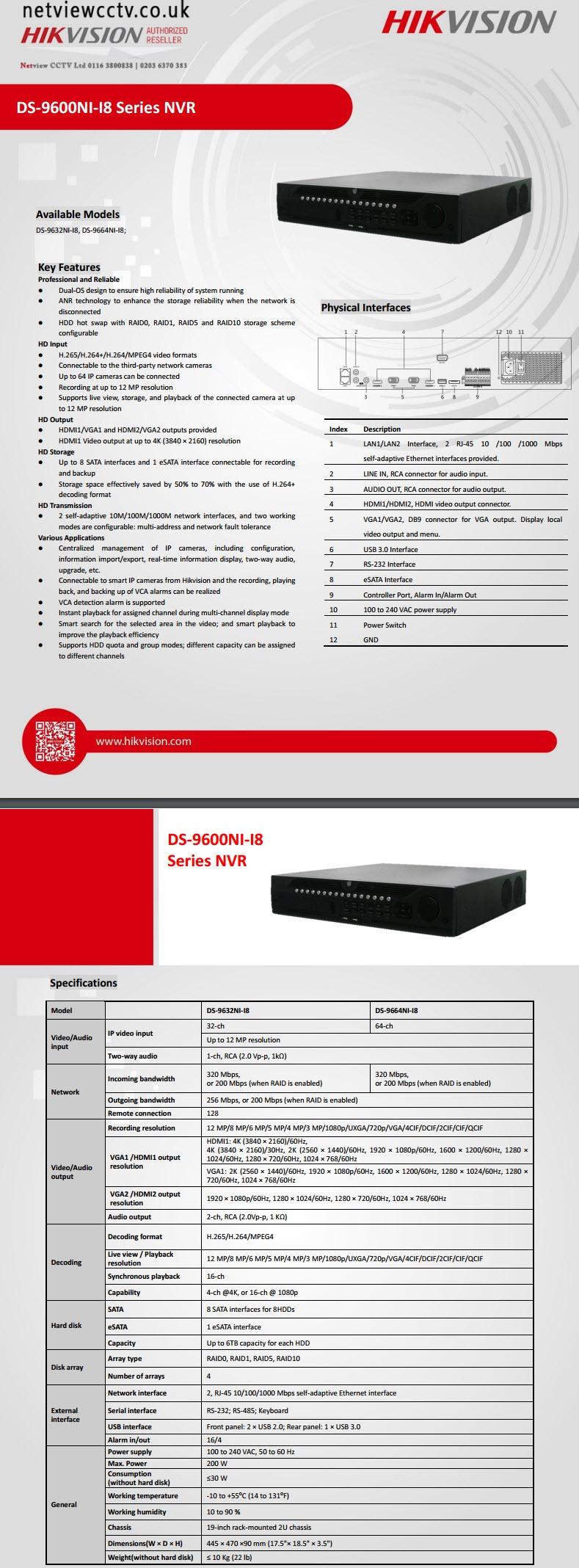 Hikvision, DS-9632NI-I8 datasheet