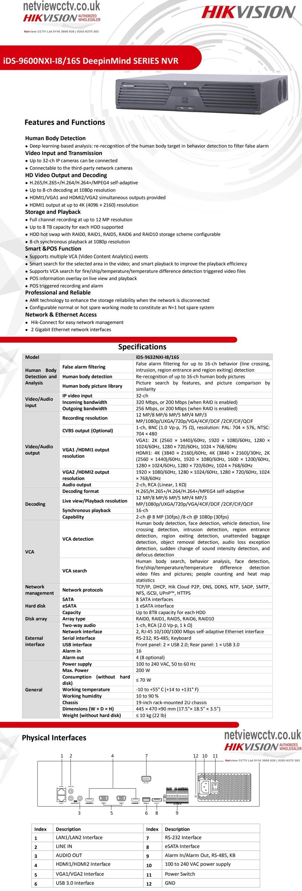 32 Channel IDS-9632NXI-I8/16S Hikvision DeepinMind Learning 4K NVR