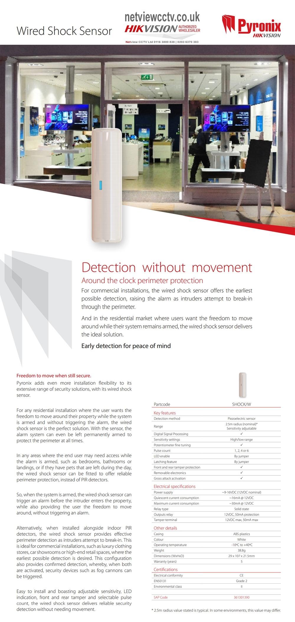 Pyronix Wired SHOCK/W Shock Sensor Adjustable Sensitivity WHITE