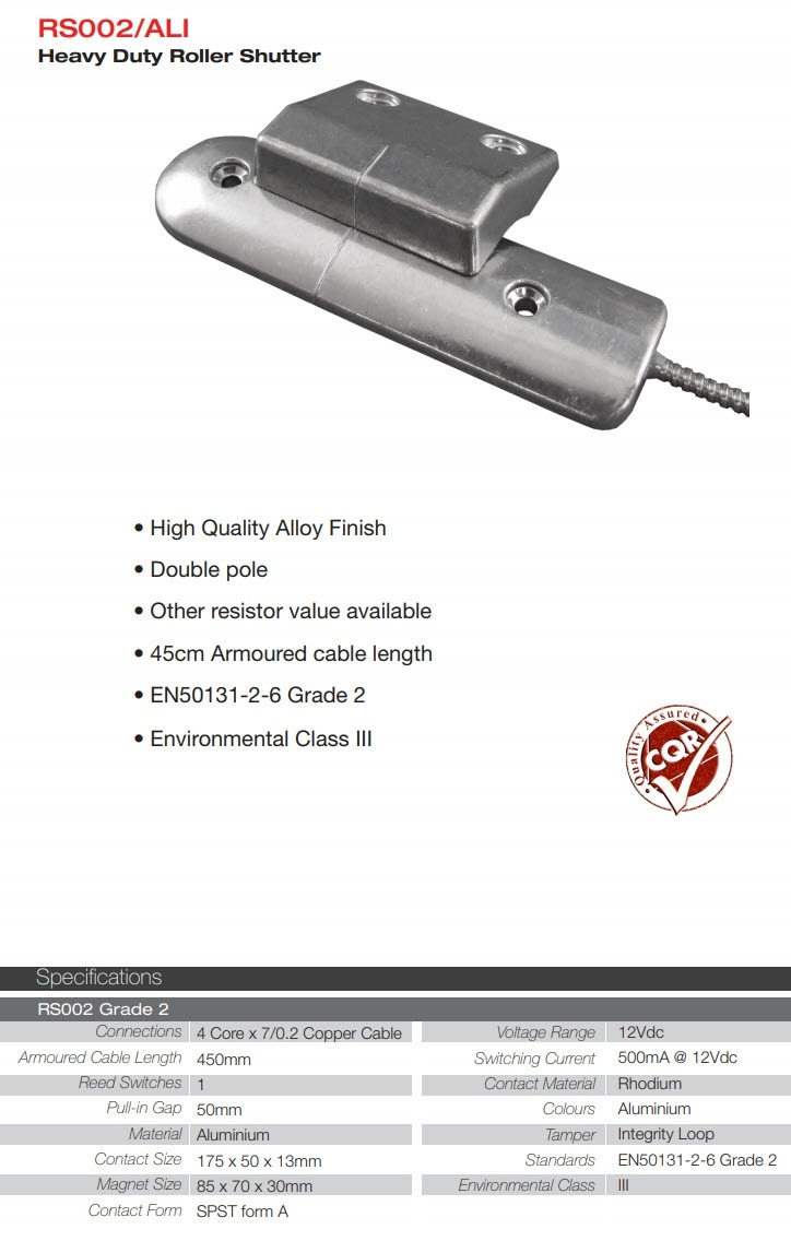 RS002/ALI Heavy Duty Roller Shutter Magnetic Contact grade 2