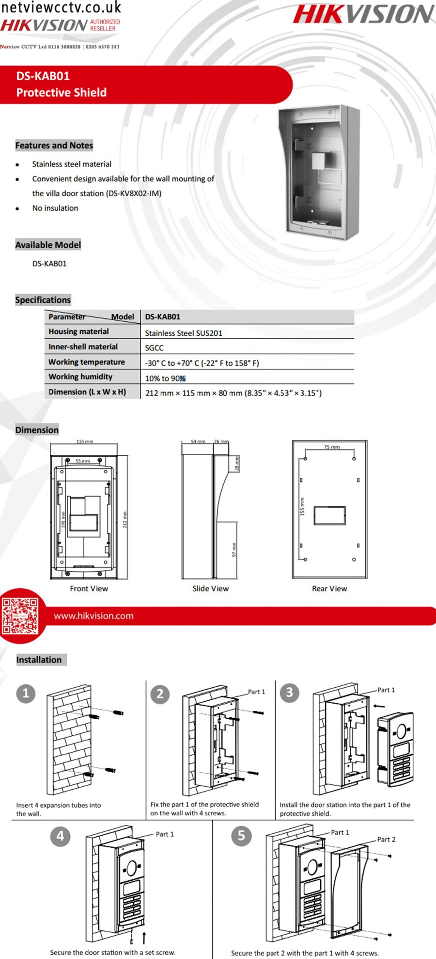 Hikvision, DS-KAB01, Door Entry Housing, 2-Part, for Villa Stations