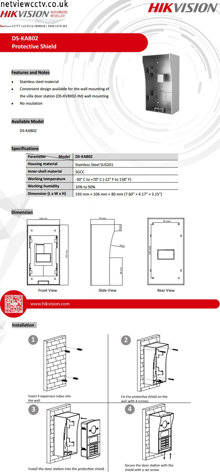 Hikvision, DS-KAB02, Protective Shield, Housing, for Villa Stations