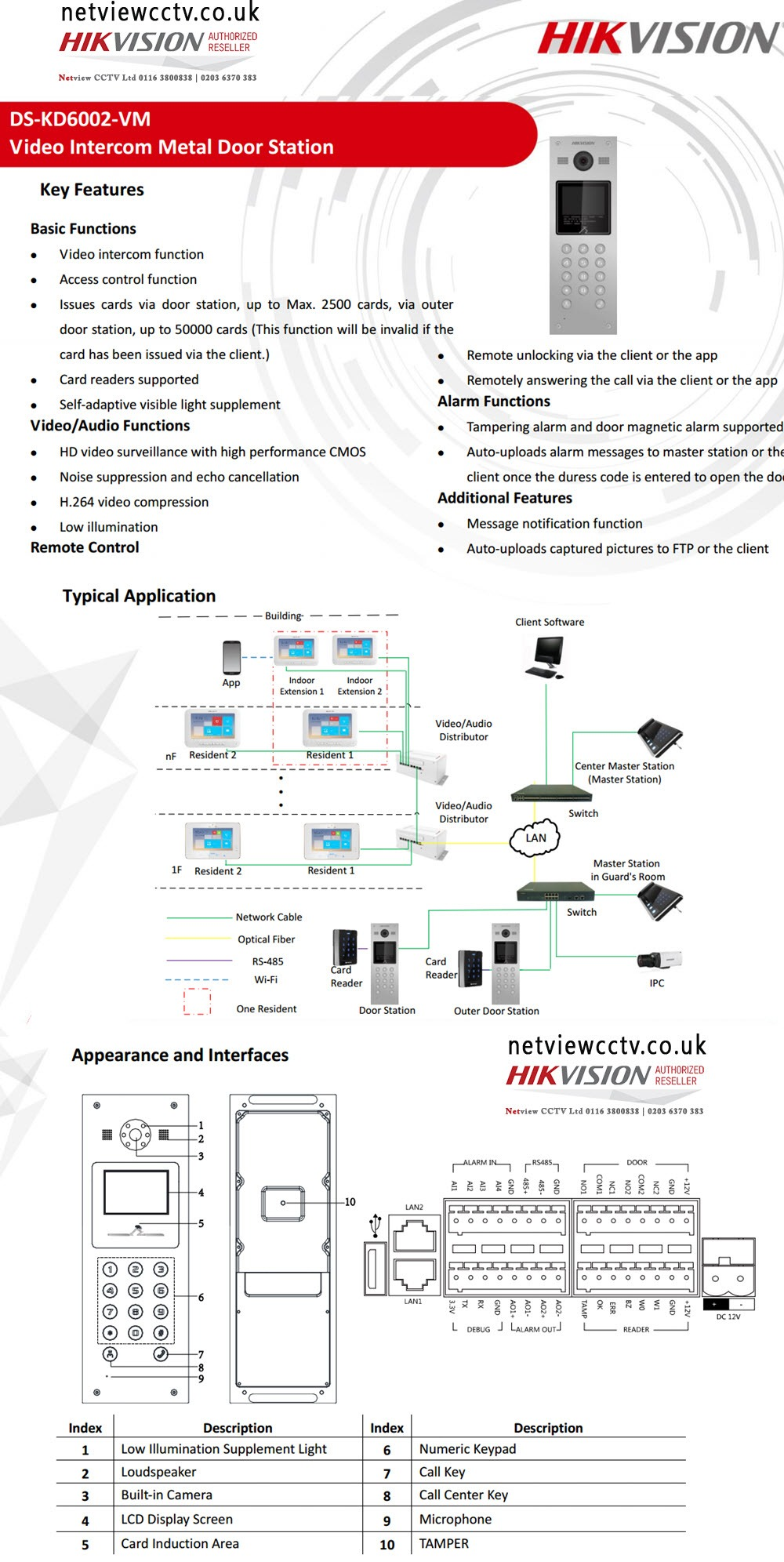 Hikvision DS-KD6002-VM Video Intercom specifications