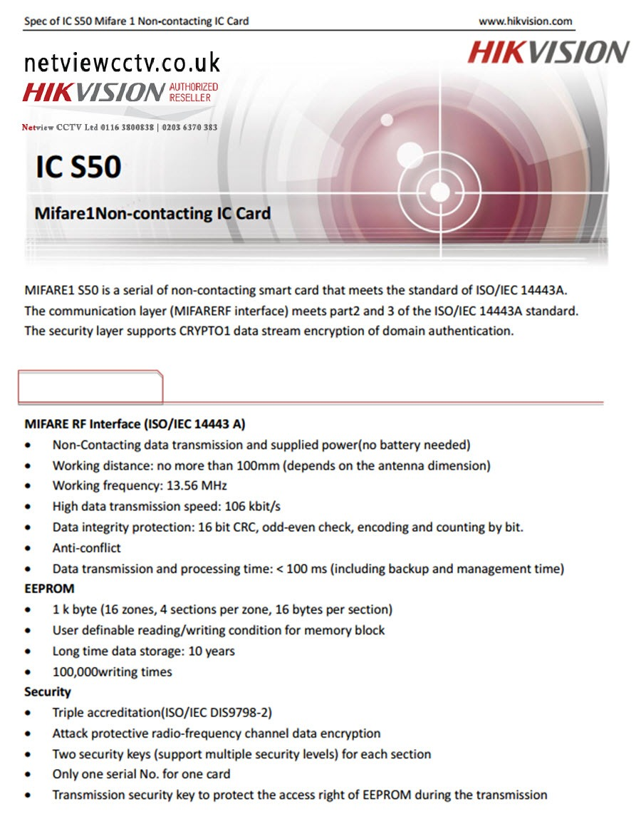 Contactless, Smart Card, for Hikvision, Video Intercom specification