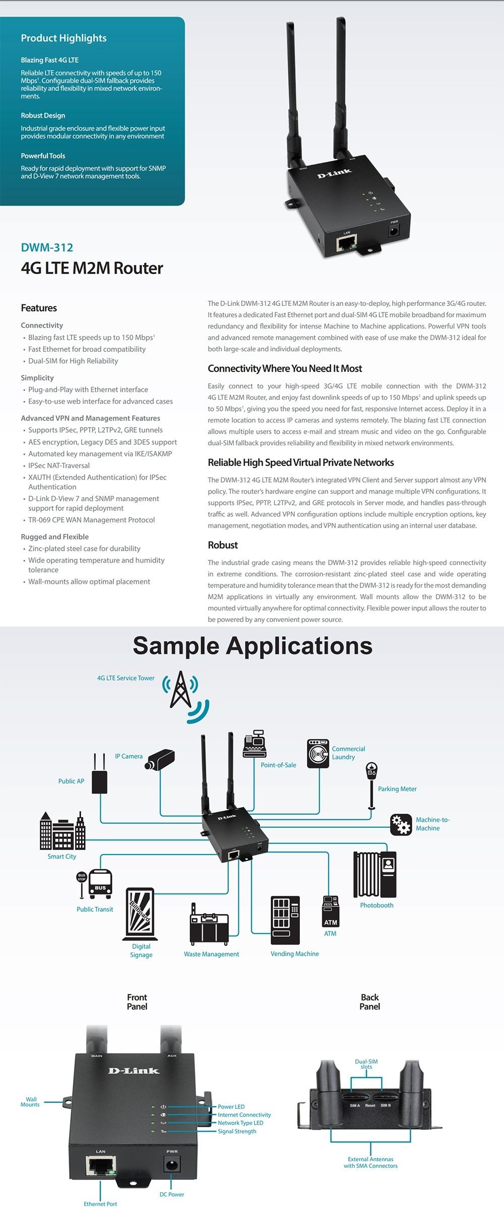 DLINK DWM-312 4G Dual SIM Router with Advanced VPN